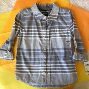 NWT OshKosh Gray/White Stripe Button Down Shirt